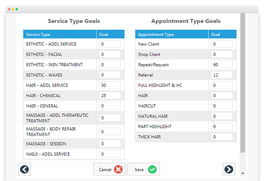 photo of computer tab with service type goals and appointment type goals